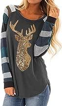 Elogoog Women's Plus Size Christmas Plaid Sequin Splice Printed Xmas Reindeer Pullover Blouse