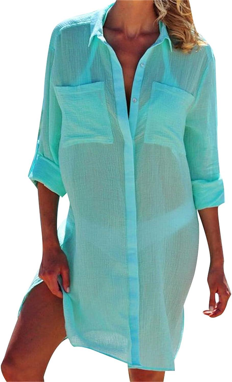 AvoDovA Women Loose Long Sleeve Swimsuit Cover Ups Button Down Summer Beach Shirt Dress with Pockets