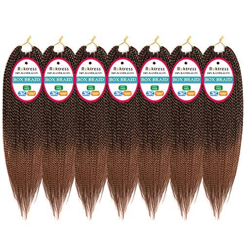 Roktress 7 Packs 14 Inches Box Braid Crochet Hair Crochet Box Braids Medium 3X Box Braiding Crochet Hair Kanekalon Synthetic Hair Extensions 20 Strands/Pack (14