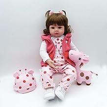 ZIYIUI 20 Zoll Reborn Puppe Reborn Babys Lange Haare Mädchen Silikon Dolls Lebensechte Handarbeit Babypuppen Kinder Spielzeug Geschenk