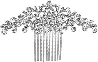 MAYCREATE® Hair Comb Bridal |Rhinestone Decorative Bridal | Flower Vintage | Wedding Hair Accessories| Women Headpeice For Women Bride (Silver)