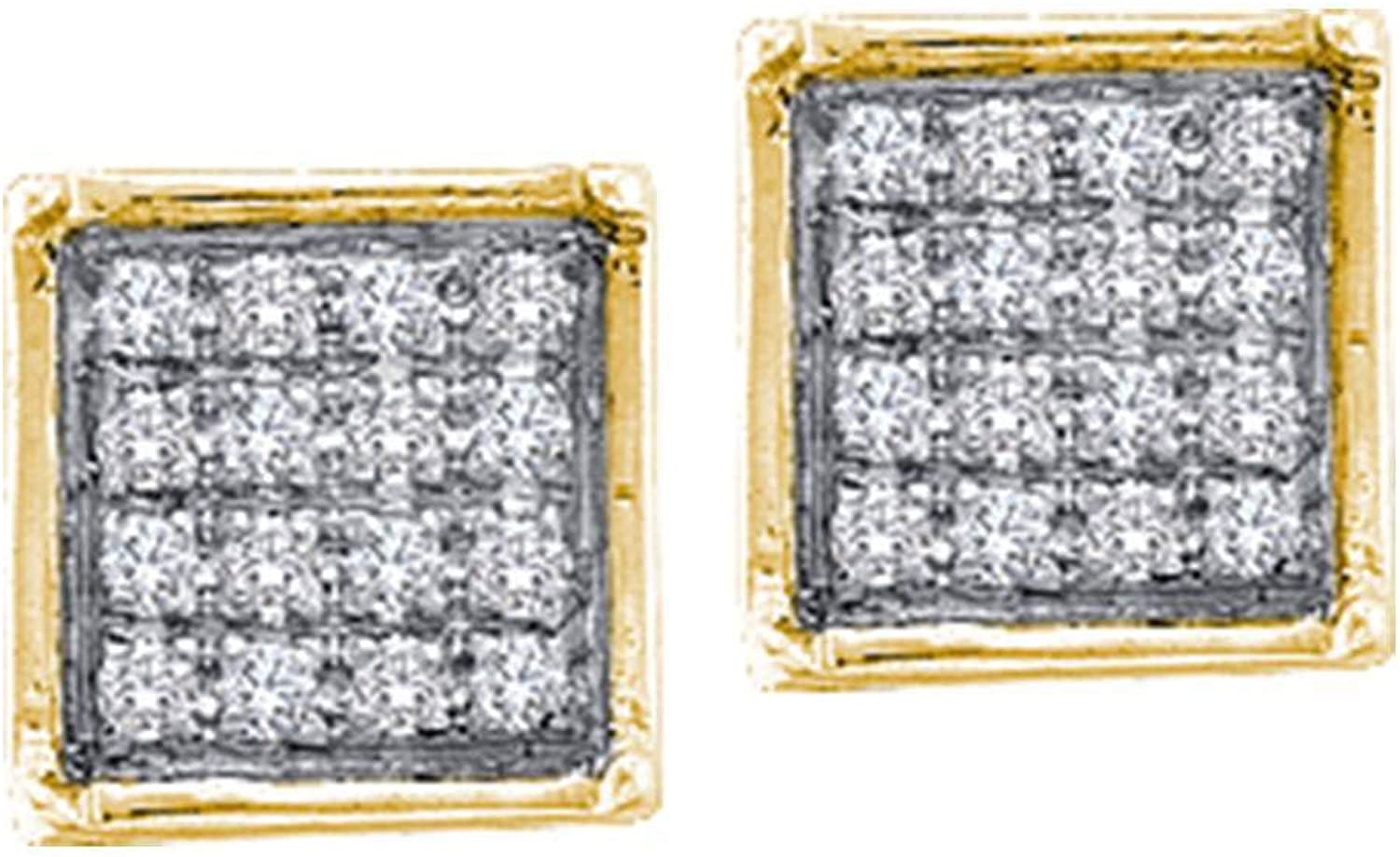 10kt Yellow gold Womens Round Diamond Square Cluster Earrings 1 20 Cttw