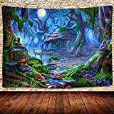 Fairy Tale World Tapestry Fantasy Forest Hut Night View Tapestry Kids Bedroom Living Room Dormitory Tapestry Decor 80×60 Inches GTLSUH22