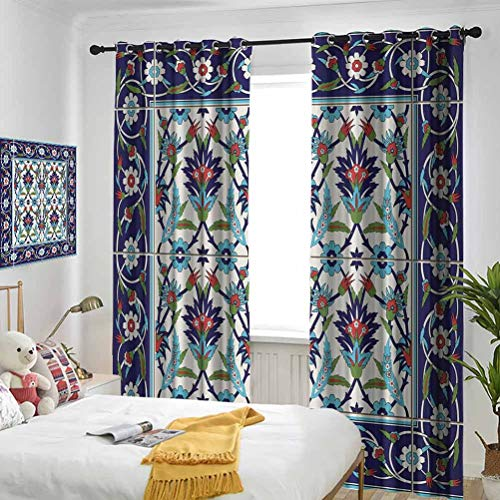 Turkish Pattern Mosaic Tiles with Nature Inspired Ornaments Tulips and Daisies with Curls Multicolor Bedroom blackout curtains Three-layer braided noise reduction ring top shade curtain W84 x L72 Inc