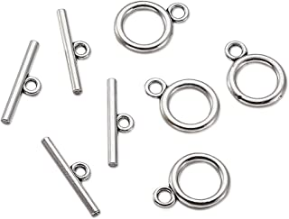 Pandahall 20Sets Tibetan Style Round IQ Toggle Clasps & Tbar Clasps for Necklace Bracelet Jewelry Making Lead Free Cadmium Free Nickel Free Antique Silver