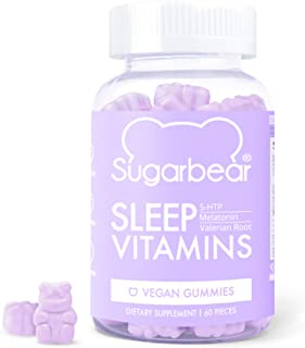 SugarBear Sleep, Vegan Gummy Vitamins with Melatonin, 5-HTP, Magnesium, L-Theanine, Valerian Root, Lemon Balm (1 Month Sup...