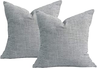 Original Pro Grey Pillow Covers Chenille Plush Decorative Pillow Covers Textured Striped Pillow Cases for Sofa Couch Bed 18x18 inches Pack of 2