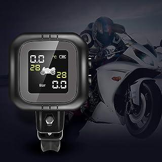 mewmewcat Sistema de monitoramento da pressão dos pneus da motocicleta com 2 sensores externos à prova d'água sem fio