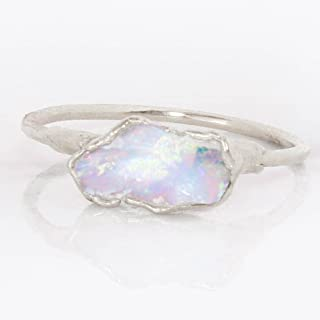 Raw Opal Ring, Size 6, Sterling Silver, October Birthstone Stacking Ring