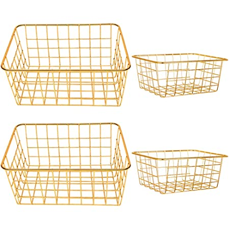 4 Decorative Gold Baskets 2 Large Size and 2 Small Size Perfect Storage for Home and Office Brought to You By Majika Premier
