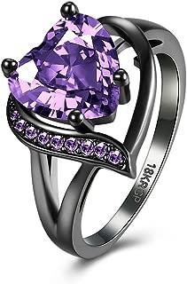 Women's New Exquisite Fashion Jewelry Gun Black Heart-Shaped Red Diamond Ring