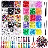 Duufin 2200 Piezas Pony Beads Kit de Fabricación de Pulseras Juego de Cuentas de Alfabeto de Color...