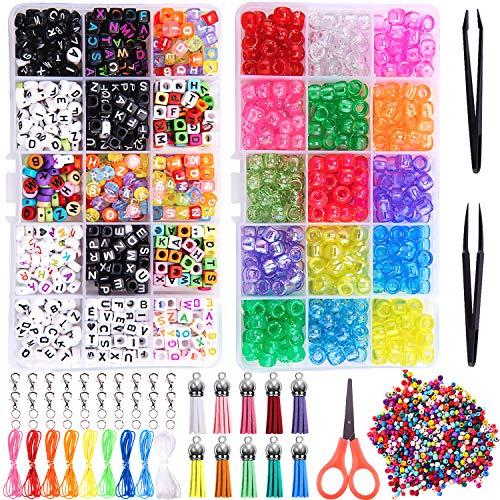 Duufin 2200 Pezzi Pony Beads Kit Creazione di Braccialetti Arcobaleno Color Alphabet Beads Set con Stringhe Jump Ring Pinzette per Creazione di Gioielli Artigianato Fai-da-te