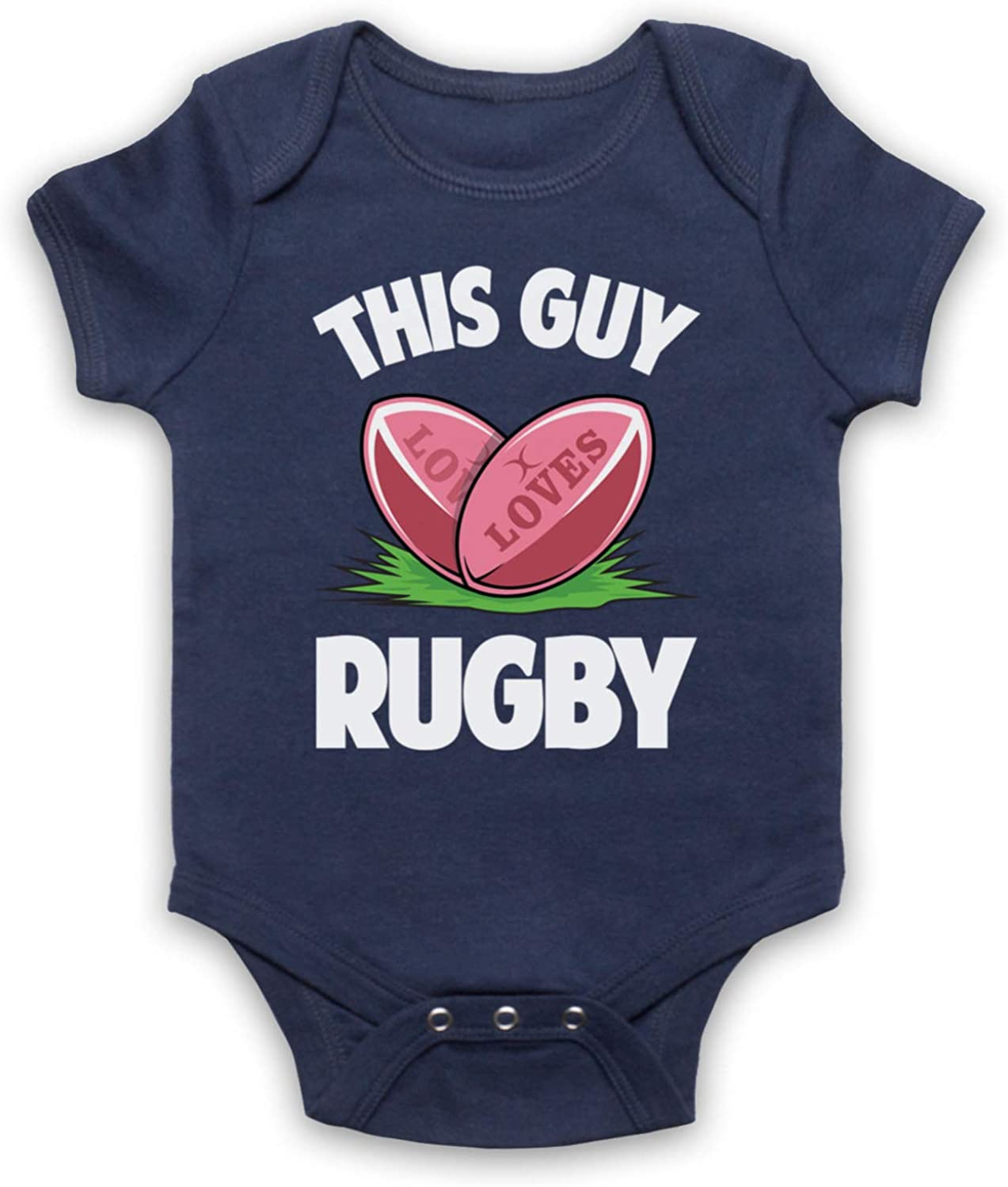 My Icon Unisex-Babys This Guy Loves Rugby Rugby Slogan Baby Grow