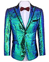 COOFANDY Shiny Sequins Suit Jacket Blazer One Button Tuxedo for Party,Wedding,Banquet,Christmas,Nightclub,Blue,X-Large