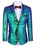 COOFANDY - chamarra de lentejuelas brillantes para hombre, con un botón, esmoquin para fiesta, boda, banquete, baile de graduación, Azul, Medium