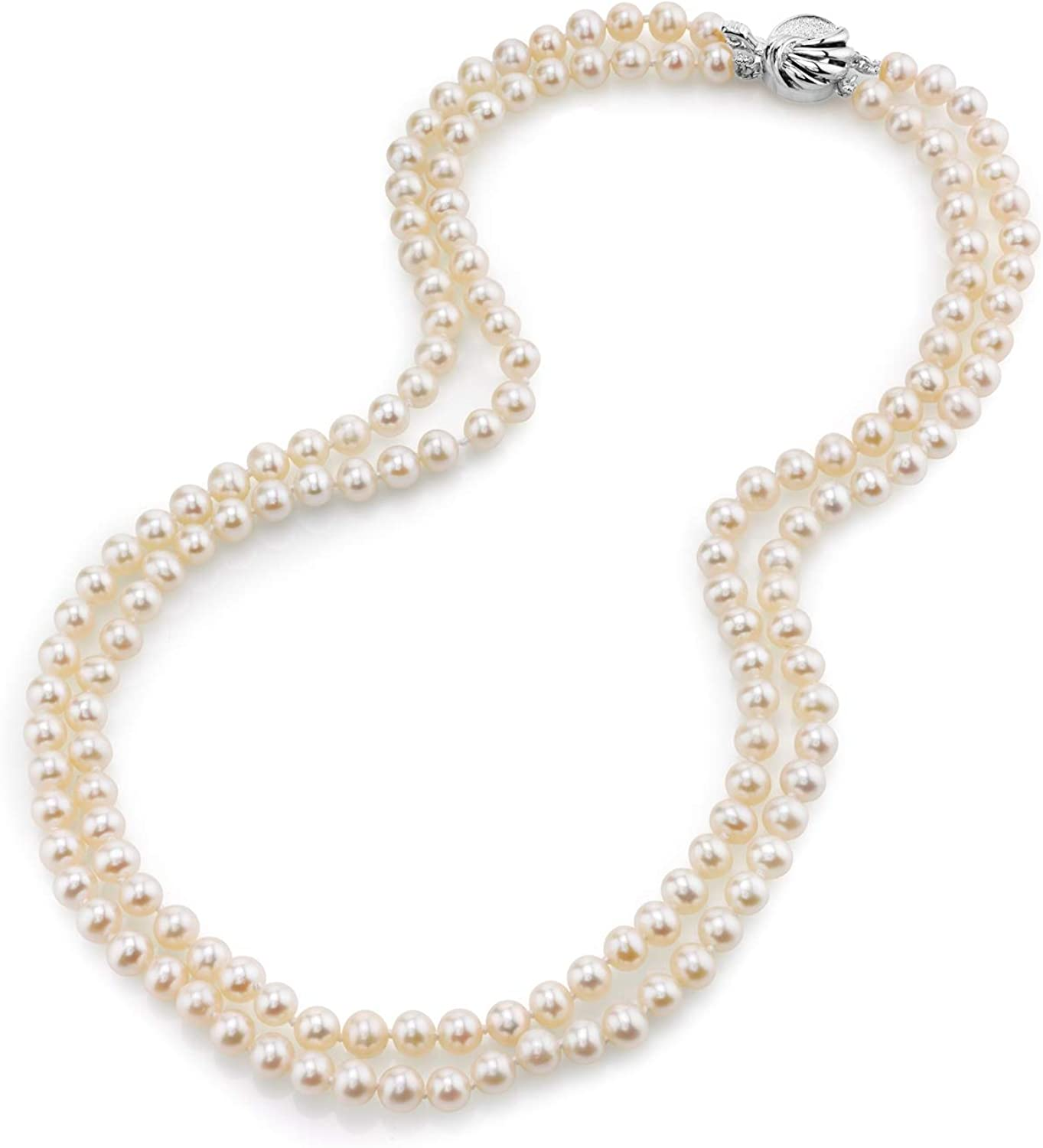 THE Colorado Springs Mall PEARL SOURCE Cash special price Sterling Silver Whit AAAA Strand Double Quality
