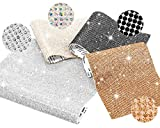 Whaline 30000Pcs Bling Crystal Rhinestone Stickers DIY Car Decoration Stickers Self Adhesive Glitter Rhinestones Crystal Gem Stickers for Car Phone Gift Craft (White, Black, AB Color, Champagne Gold)