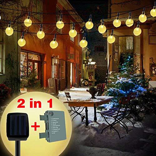 Brisun 32 LED Solar Lichterkette,Solar und Batterie (2 in 1) Lichterkette 8 Modi Wasserdicht Kristall Kugeln Lichterkette für Weihnachtsdeko/Garten/Terrasse/Haus/Party Warmweiß