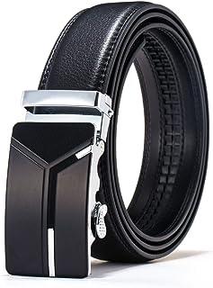 HatButik Adjustable Leather Belt for Men with Classic Ratchet Metal Buckle