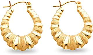 Solid 14k Yellow Gold Shrimp Hoop Earrings Hollow Satin & Polished Design French Lock Fancy 25 x 25 mm