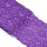 Beadthoven - Nastro elastico in pizzo, 10 m di larghezza, 10 m di lunghezza, con motivo floreale, per abbigliamento, artigianato, matrimonio, baby shower, decorazione regalo, colore: viola