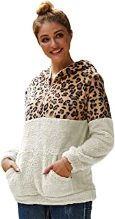 Dawwoti Women's Hooded Leopard Coat Kangaroo Pocket Casual Over Coat