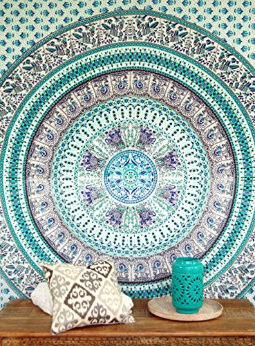Guru-Shop Boho-Style Wandbehang, Indische Tagesdecke Mandala Druck- Grün/türkis, Baumwolle, 240x210 cm, Bettüberwurf, Sofa Überwurf