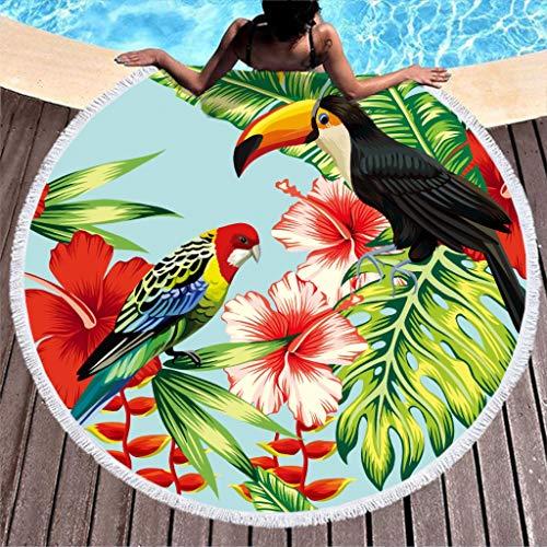 Groß Rund Strandtuch Blätter Blumen Papagei Tukan Microfaser Strandtücher Strandhandtuch Badetuch Wandteppich Yoga Matten Picknickdecke Stranddecke Bunt 150cm
