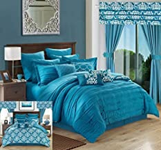 Chic Home Hailee 24 Piece Comforter Complete Bed in a Bag Sheet Set and Window Treatment, King, Teal