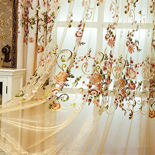 WPKIRA European Style Sheer Curtains Living Room Embroidered Sheer Curtains Rod Pocket Elegance Luxury Floral Voile Curtain Rustic Tulle Gauze for Bedroom Sliding Glass Door 1 Panel