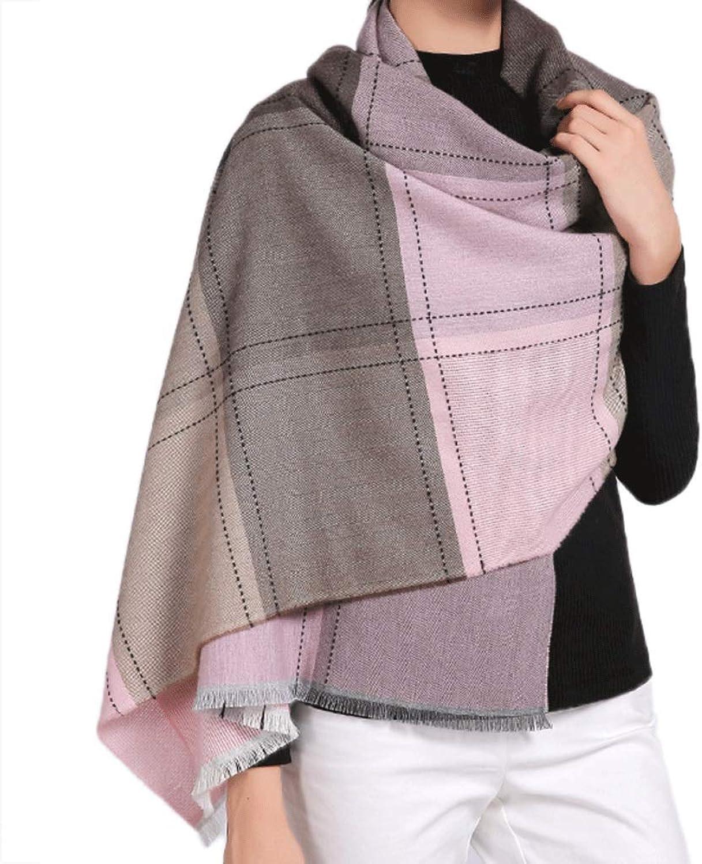 WXL Scarf Elegant Lattice Thin Section Rectangle Winter Multifunction Keep Warm Shawl 190×60cm V (color   Pink Grid)