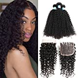 BLY Human Hair Bundles with Closure- 7A Mongolian Virgin Kinky Curly Hair Extensions 3 Bundles with Lace Closure Unprocessed Natural Color(20/22/24+18 Inch)