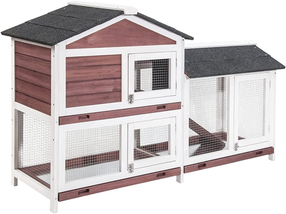ROWEQPP Pet Rabbit Hutch Wooden House Ani for Coop Chicken Small Ranking TOP9 Luxury goods