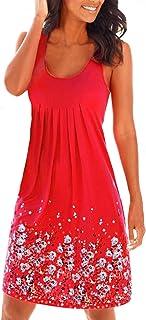 98c9e8fc76379d Yidarton Donna Estate Vestito Stampa Knielang Senza Maniche Rotondo Collo  Beach Dress Estate Vestito Sciolto