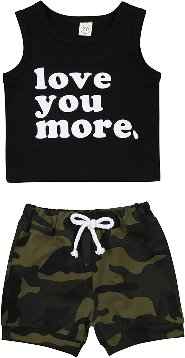 2PCS Baby Boy Summer Outfit Sleeveless Love You More Tank Top Camouflage/Plaid Shorts Pants Infant Clothes Set