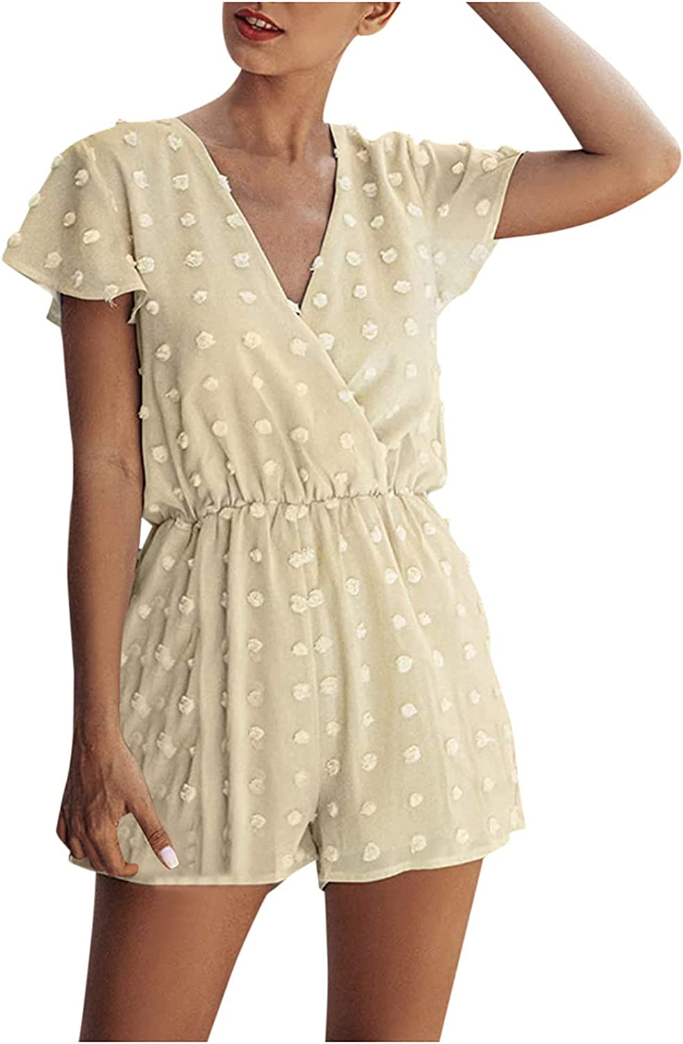 A2A Rompers for Women Summer Autumn Deep V Neck Wrap Floral Polka Dot Short Sleeve Beach Lace Up Short Jumpsuit