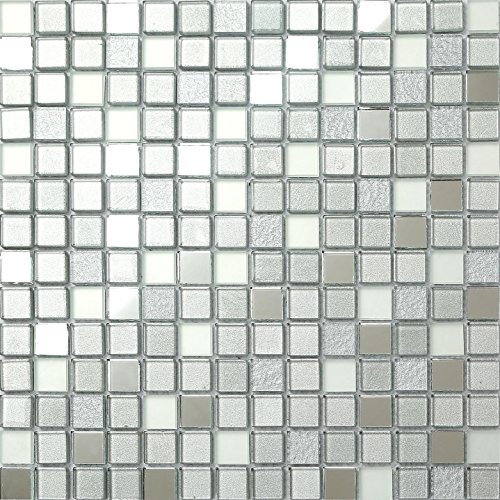 30x30cm Silver Mirror Frosted Glitter Mix Glass Mosaic Tiles Sheet (MT0046) by Grand Taps