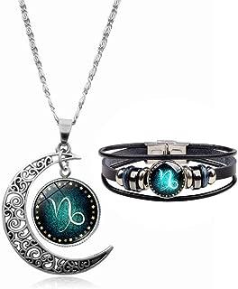 Hollow Crescent Constellation Necklace Pendant Vintage Woven Leather Bracelet Bangle for Women Men Fashion Jewelry 2Pcs/Set
