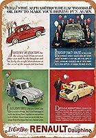 Shimaier 壁の装飾 ブリキ 看板メタルサイン 1959 Renault Dauphine ウォールアート バー カフェ 30×40cm ヴィンテージ風 メタルプレート
