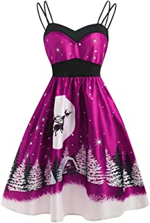 Women's Vintage Dress 1950s Retro Christmas Printed Cocktail Dress Fashion Cami Evening Party Prom Swing Dress