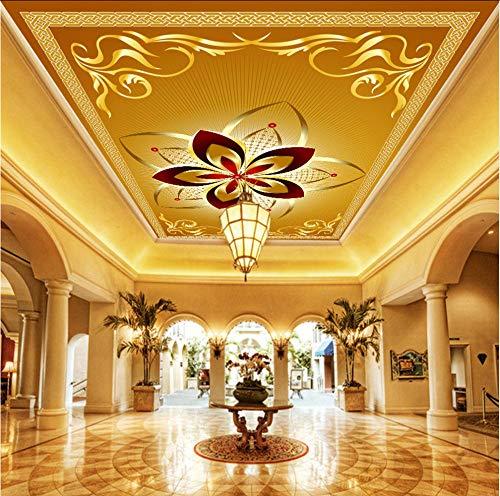 Hwhz Benutzerdefinierte 3D Wandbilder Tapete Europäischen Stil Luxus Deckenbild Hotel Wohnzimmer Deckendekor Wandmalerei Kunst Tapete-200X140Cm