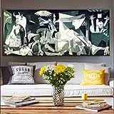yaoxingfu Picasso Guernica sin Marco Pinturas de Arte Famosas Imprimir en Lienzo Impresiones del Arte Picasso Obra de Arte Reproducciones Cuadros de Pared Decoración del hogar 60x120cm