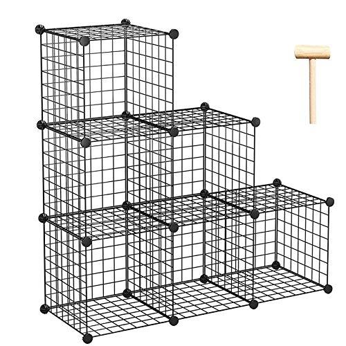 JIEIIFAFH Estante de 6 Cubo Organizador de Cocina Closet Bootchase Librería Metal Almacenamiento Alambre Modular
