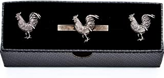 MRCUFF Chicken Rooster Gunmetal Black Pair Cufflinks and Tie Bar in a Presentation Gift Box with Polishing Cloth