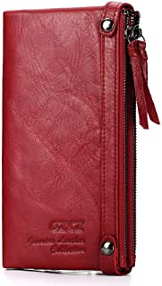 Mens Leather Bag Hot Spot First Layer Leather Lady's Purse Long Double Zipper Fashionable Cowhide Lady's Multi-Card Wallet Bag (Color : Red, Size : S)