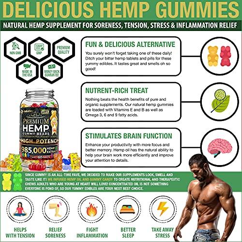 Hemp Gummies Premium 3000 Milligram High Potency - 50 Per Fruity Gummy Bear with Organic Hemp Oil   Rich in Omega 3-6-9