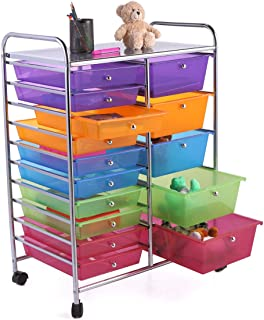 JAXPETY Rolling Storage Cart w/15 Drawers Metal Rack Kids Shelf Home Office School Salon