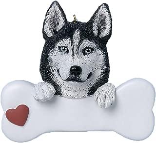 Personalized Siberian Husky Christmas Tree Ornament 2019 - Dog Paw Bone Heart Loyal Puppy Gentle Piebald Best Furever Intelligent Fluffy White Black Silver Grey - Free Customization