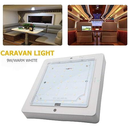 Plafonnier LED, lumière de toit de voiture 12V 9W, lampe intérieure pour camping-car caravane camping-car camion remorque véhicule, blanc chaud